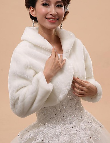cheap Wedding Wraps-Long Sleeve Capelets Faux Fur Wedding / Party Evening Wedding  Wraps / Fur Wraps / Hoods & Ponchos With Button