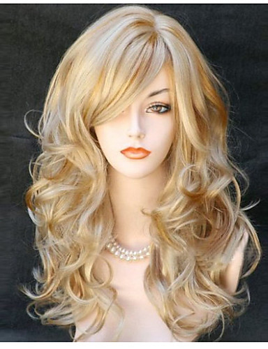 cheap Synthetic Wigs-Synthetic Wig Body Wave Wavy With Bangs Wig Blonde Long Blonde Synthetic Hair 24 inch Women's Side Part Blonde