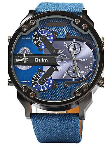 preiswerte Oulm®-Oulm Herrn Uhr Sportuhr Militäruhr Quartz Leder Blau Duale Zeitzonen Cool Analog Luxus Blau