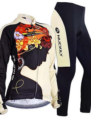 povoljno Odjeća za vožnju biciklom-Nuckily Žene Dugih rukava Biciklistička majica s tajicama Crn Cvjetni / Botanički Bicikl Sportska odijela Ugrijati Vjetronepropusnost Podstava od flisa Prozračnost Anatomski dizajn Zima Sportski