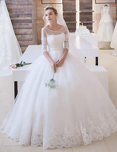 cheap Wedding Dresses Under $200-Ball Gown Jewel Neck Floor Length Lace Over Tulle Made-To-Measure Wedding Dresses with Appliques / Sash / Ribbon by LAN TING Express