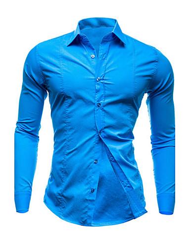 levne Pánské košile-Pánské - Jednobarevné Práce Business Větší velikosti Košile, Základní Široký límeček Štíhlý Červená / Dlouhý rukáv / Jaro / Podzim