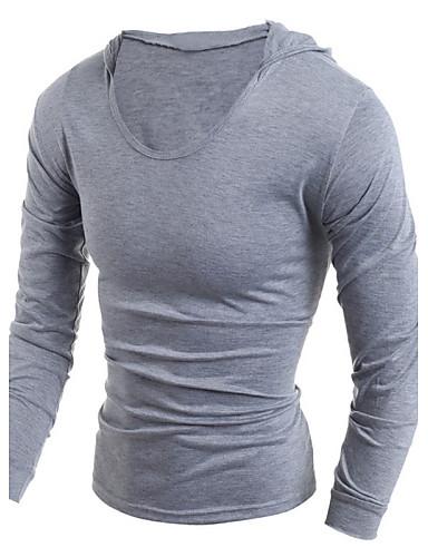 Enfärgad Sport Bomull T-shirt Herr Huva Svart / Långärmad