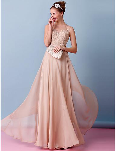 cheap Wedding Dresses-A-Line Wedding Dresses Bateau Neck Floor Length Chiffon Regular Straps Wedding Dress in Color with Appliques 2020