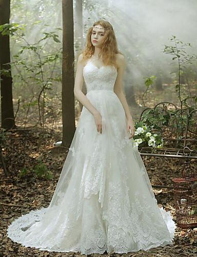 0a923646e فستان زفاف-أبيض(قد يتغير اللون باختلاف الشاشة) البوق/ حورية البحر قصير بطول  الأرض دانتيل / تول 4900141 2019 – $229.99