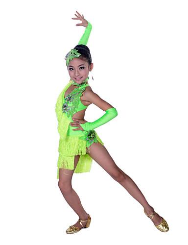 levne Shall We®-Latinské tance Šaty Výkon Bavlna / Spandex Třásně / Křišťály / Bižuterie Bez rukávů Vysoký Šaty / Rukavice / Doplňky do vlasů