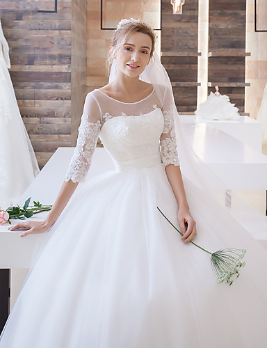 Ball Gown Illusion Neckline Floor Length Lace Tulle Wedding Dress With Appliques Sash Ribbon By 4932404 2018 15299