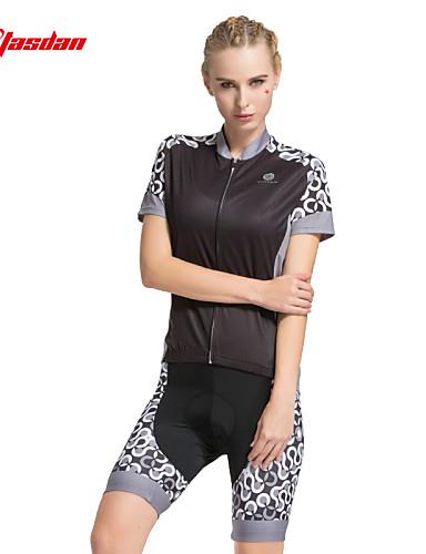 povoljno Odjeća za vožnju biciklom-TASDAN Žene Kratkih rukava Biciklistička majica s kratkim hlačama Crn Svjetlo siva Pink Dots Bicikl Kratke hlače Biciklistička majica Podstavljene kratke hlače Prozračnost Pad 3D Quick dry