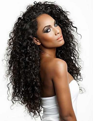 cheap Celebrity Wigs-Human Hair Glueless Full Lace Glueless Lace Front Full Lace Wig Side Part Free Part Kardashian style Brazilian Hair Curly Brown Natural Black Wig 130% 150% Density 8-24 inch with Baby Hair Natural
