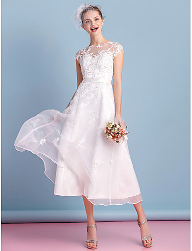 cheap Wedding Dresses Under $200-A-Line Bateau Neck Tea Length Organza Made-To-Measure Wedding Dresses with Bowknot / Appliques / Lace by LAN TING BRIDE® / Little White Dress / See-Through