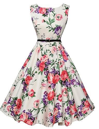 preiswerte Zurück in die 80er-Damen Ausgehen Retro A-Linie Kleid - Druck, Blumen Knielang Weiß