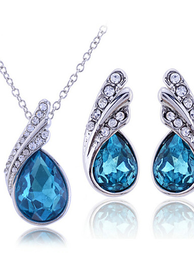 cheap Sterling Silver Jewelry Sets-Women's Cubic Zirconia Jewelry Set Necklace / Earrings Pear Cut Solitaire Drop Ladies Sterling Silver Zircon Rhinestone Earrings Jewelry White / Purple / Blue For Wedding Party Birthday Engagement