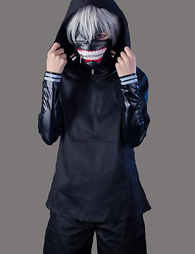 billige Anime Cosplay-Inspireret af Tokyo Ghoul Ken Kaneki Anime Cosplay Kostumer Japansk Cosplay Kostumer Ensfarvet Langærmet Frakke Top Bukser Til Herre / Shorts / Maske / Maske / Shorts