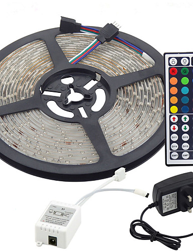cheap 11.11 - LED String Lights Best Sale-5m Flexible LED Light Strips / Light Sets / RGB Strip Lights LEDs 3528 SMD 8mm RGB Remote Control / RC / Cuttable / Dimmable 100-240 V / Linkable / Self-adhesive / Color-Changing / IP44