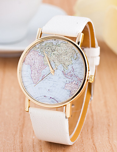 [$12.59] Women\'s Ladies Sport Watch Wrist Watch World Map Quartz Genuine  Leather Multi-Colored Large Dial Analog Charm Fashion World Map Dress Watch  - ...