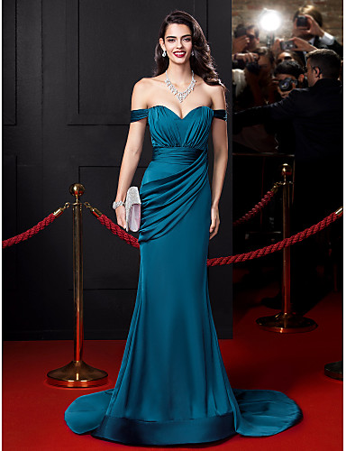 cheap Special Occasion Dresses-Mermaid / Trumpet Sexy Blue Engagement Formal Evening Dress Off Shoulder Sleeveless Court Train Satin Chiffon with Ruched Draping 2020