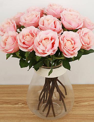 preiswerte HomeSweetHome-Künstliche Blumen 1 Ast Europäischer Stil Rosen Tisch-Blumen