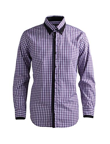 preiswerte Oberteile-Herrn Solide - Schick & Modern Hemd Purpur / Langarm