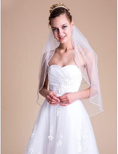 preiswerte Party Zubehör-Zweischichtig Hochzeitsschleier Ellbogenlange Schleier mit Strass 31,5 in (80cm) Tüll