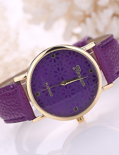 cheap Floral Watches-Women's Ladies Wrist Watch Quartz Leather Black / White / Blue Casual Watch Analog Flower Fashion - Brown Red Light Blue One Year Battery Life / Tianqiu 377