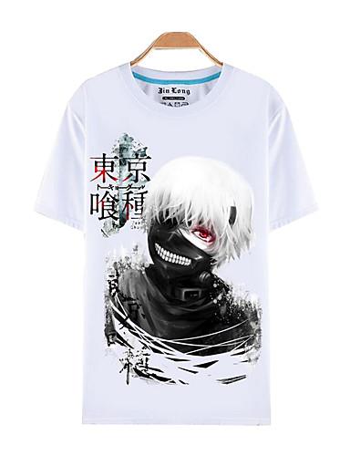 povoljno Anime cosplay-Inspirirana Tokio Ghoul Ken Kaneki Anime Cosplay nošnje Japanski Cosplay majica Print Kratkih rukava Top Za Muškarci