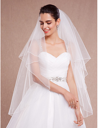 cheap Wedding Veils-Two-tier Pencil Edge Wedding Veil Blusher Veils / Fingertip Veils with Ruched Tulle / Classic