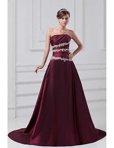 cheap Special Occasion Dresses-A-Line Vintage Inspired Formal Evening Dress Strapless Sleeveless Court Train Taffeta with Appliques Side Draping 2020