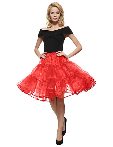 preiswerte Ein Retro - Rock-Damen Street Schick Party / Cocktail A-Linie Röcke - Solide Tüll Schwarz Weiß Rot M XL