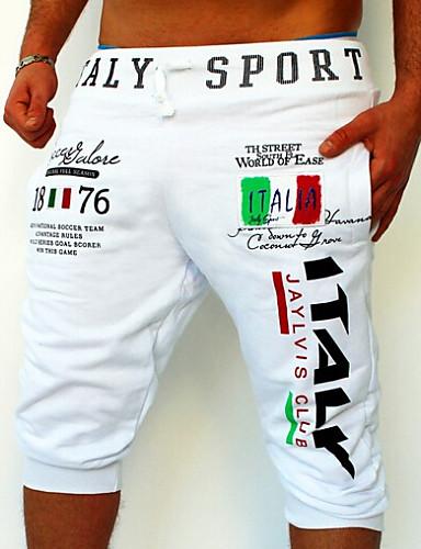 billige Shorts-Herre Aktiv / Grunnleggende Sport Helg Avslappet / Joggebukser / Shorts Bukser - Bokstaver Trykt mønster Svart Blå Lyseblå L XL XXL