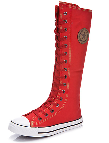 cheap 11.11 - Women's Boots Top Seller-Women's Boots Knee High Boots Flat Heel Round Toe / Closed Toe Zipper / Lace-up Canvas Knee High Boots Fashion Boots Spring / Summer Black / White / Red