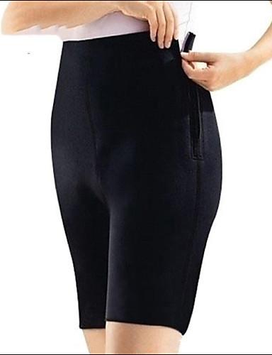 billige Dametopper-Dame Store størrelser Jeans Bukser - Ensfarget Bomull Svart XL XXL XXXL