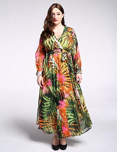 voordelige Maxi-jurken-Dames Grote maten Boho Lantern Sleeve Chiffon Wijd uitlopend Jurk Print Diepe V-hals Maxi / Bloemen