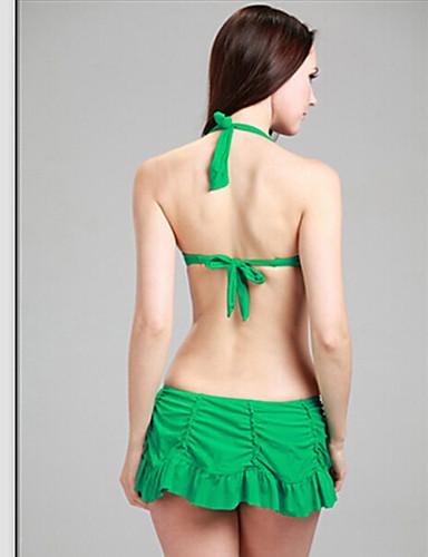 billige Dametopper-Dame Store størrelser Grime Svart Grønn Fuksia Bandeau Skjørt Bikini Badetøy - Ensfarget Drapering XL XXL XXXL Svart