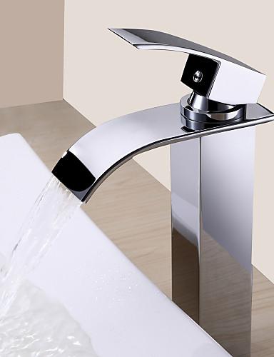 preiswerte Sprinkle® LED Armaturen-Lichtthebox Sprinkle® Badarmaturen - Moderne Chrom Wasserfall Ein Loch