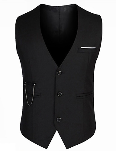 cheap Waistcoats-Men's V Neck Vest Regular Solid Colored Daily Work Sleeveless Black M / L / XL / Slim