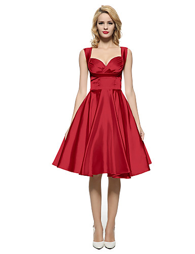63aa55e2795 Maggie Tang Women s 50s Vintage Rockabilly Hepburn Pinup Swing Dress ...