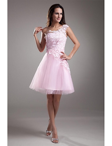 cheap Cocktail Dresses-A-Line Floral Graduation Cocktail Party Dress One Shoulder Sleeveless Short / Mini Lace Over Tulle with Appliques 2020