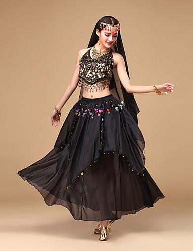 levne Shall We®-Břišní tanec Úbory Dámské Výkon Šifón Flitry Bez rukávů Vrchní deska / Sukně / Doplňky do vlasů