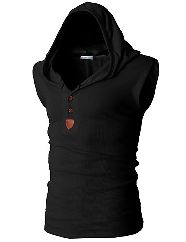 cheap Gym Tank Tops-Men's Daily Tank Top Graphic Solid Colored Basic Sleeveless Slim Tops Active Hooded White Black Red / Sports / Summer