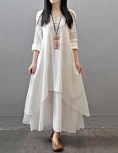 billige Trendy dameklær-Dame Store størrelser Chinoiserie Bomull Løstsittende A-linje Løstsittende Kjole - Ensfarget, Multi Layer Maksi Hvit