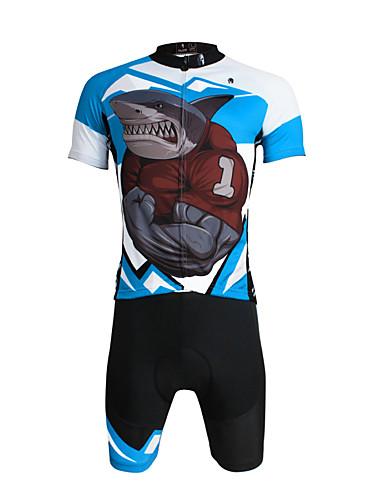 povoljno Odjeća za vožnju biciklom-ILPALADINO Muškarci Kratkih rukava Biciklistička majica s kratkim hlačama Crn Bicikl Kratke hlače Biciklistička majica Sportska odijela Prozračnost Pad 3D Quick dry Ultraviolet Resistant / Likra