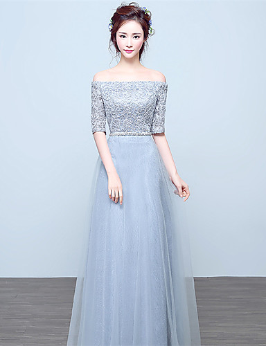 5695a1132a8 Kappe / søjle fra skulderen gulvlængde blonder satin brudepige kjole med  krystal detaljerende blonder 5130258 2019 – $99.99