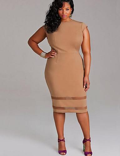 levne Pracovní šaty-Dámské Větší velikosti Jdeme ven Pouzdro Šaty - Jednobarevné Délka ke kolenům Bílá / Štíhlý
