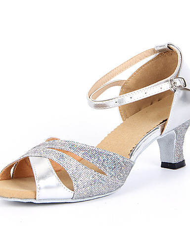 cheap Latin Shoes Best Seller-Women's Dance Shoes Sparkling Glitter Latin Shoes / Salsa Shoes Buckle Sandal Chunky Heel Non Customizable Silver / Blue / Gold / Suede / EU42