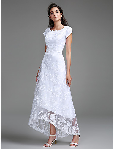 cheap Wedding Dresses-Sheath / Column Jewel Neck Asymmetrical All Over Lace Cap Sleeve Casual Little White Dress Wedding Dresses with Lace 2020