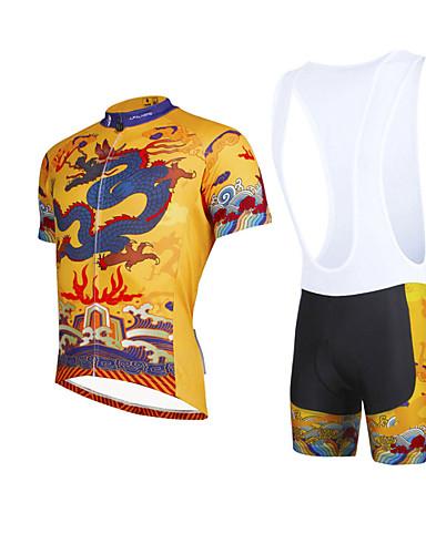 povoljno Odjeća za vožnju biciklom-ILPALADINO Muškarci Kratkih rukava Biciklistička majica s kratkim tregericama Bijela Bicikl Bib Shorts Biciklistička majica Sportska odijela Prozračnost Pad 3D Quick dry Ultraviolet Resistant / Likra