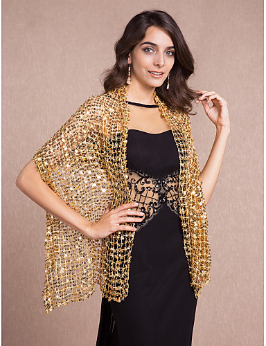 cheap Wedding Wraps-Sleeveless Shawls / 1920s / Flapper Girl Cotton Party Evening Wedding  Wraps / Shawls With Sequin