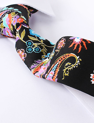 preiswerte Hochzeiten & Feste-schwarz Paisley dünne Krawatten Baumwolle