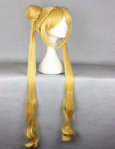 levne Cosplay paruky-Syntetické paruky Paruky ke kostýmům Sailor Moon Sailor Moon Vlnitá Vlnitá S ofinou S culíkem Paruka Blonďatá Velmi dlouhá Blonďatá Umělé vlasy 24 inch Dámské Odolné vůči horku Blonďatá