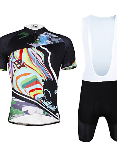 povoljno Odjeća za vožnju biciklom-ILPALADINO Muškarci Kratkih rukava Biciklistička majica s kratkim tregericama Crn Zebra Bicikl Bib Shorts Biciklistička majica Sportska odijela Prozračnost Pad 3D Quick dry Ultraviolet Resistant